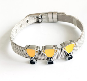 10PCs 8mm Enamel Yellow Trophy Slide Charms Fit 8mm Pet Dog Collar Name Belts Straps Bracelets Tags