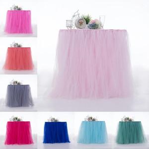 Mesas coloridas Saias Cadeira Capa Novidade Tutu Estilo Tabela Saia Caso Para Decorações Da Festa de Casamento Têxteis Para o Lar de Multi Color 45 m ZZ