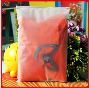 100pcs 24x35cm Cremallera con cremallera Cremallera Bolsas de plástico esmeriladas para la ropa, camiseta, empaquetado al por menor de la falda impresión personalizada del logotipo