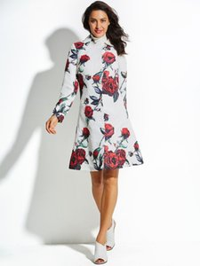 Bohoartist Mode Print Mantel Frauen Versteckte Taste Farbblock Polo-ausschnitt Floral Jacke Rot Maxi