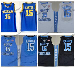 Mens Vintage Vince Carter # 15 Mainland High School Maillots De Basket-ball Pas Cher Vince Carter En Caroline Du Nord Tar Heels College Chemises Cousues