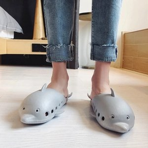 Casual Grey Cute Dolphin Slippers Men Summer Breathable Animal Slides Slippers Indoor Man Black Flip Flops
