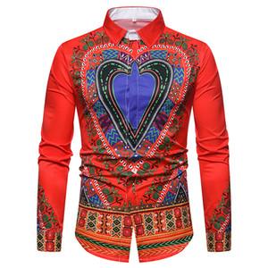 3D Heart Print Shirt Men 2018 Traditionelle Ethnische Printed Mens Dress Shirts Schlank Langarm Social Shirt Männlich Camisas Masculinas