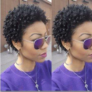 أعلى جودة سيدة البرازيلي الشعر الأفريقي العامري قصيرة غريب مجعد لمة محاكاة الإنسان الشعر القصير حليقة لمة شحن مجاني