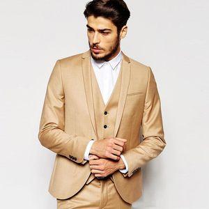 Gold Slim Fit Men Suits Wedding Groom Tuxedos Bridegroom Suits 3 Pieces (Jacket+Pants+Vest) Best Man Blazer