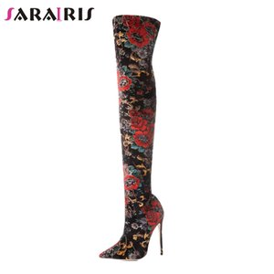SARAIRIS Diseño 12cm Slip flor del tacón alto en los zapatos Mujer Botas de otoño 2018 de la manera sobre la rodilla de gran tamaño 33-43