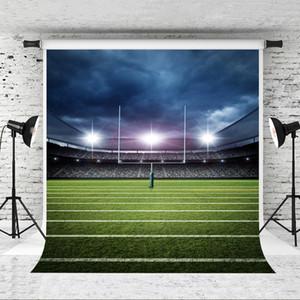 Sonho 5x7ft Fotografia de Futebol Americano Pano de Fundo Céu Azul Glitter Luz Foto de fundo Campo de Futebol Atirar Estúdio Fundo Prop