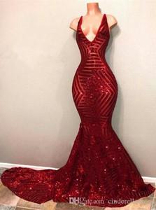 2019 Seksi Kırmızı Blingbling Sequins Gelinlik Modelleri Kolsuz Mermaid Dalma V Boyun Siyah Kızlar Akşam Parti Törenlerinde BA7779