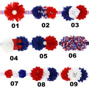 VENDITA SUPERIORE! USA Independence Day fasce aby ragazze Flower Bud capelli elastici del cerchio bambini chiffon Frilly della bandiera nazionale degli Accessori per capelli A5
