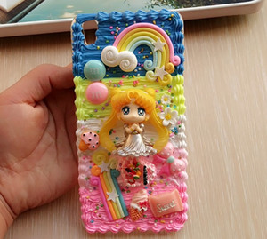 New For Samsung note 9 8 s9 plus DIY case 3D Sailor moon phone cover for Sam galaxy s8  plus handmade cream candy case girl gift