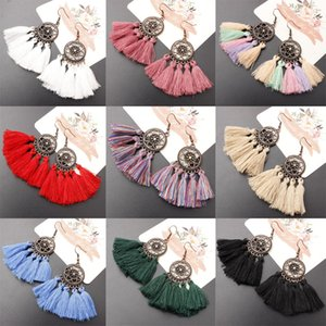 Vintage Long Tassel Drop Earring Bohe Punk Mode Ethnique Multicolore Fil De Coton Fan Forme Fringe Boucles D'oreilles Pour Wome