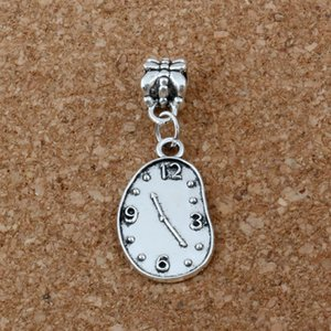 MIC 100 unids / lote Antiqued Silver Melting Clock Dangles Beads Fit European Charm Bracelet Jewelry DIY Metal