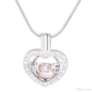 Inspirational Hope Shape 18k chapado en oro Pearl Cage colgantes DIY Oyster Pearl Necklace colgantes medallones de la joyería