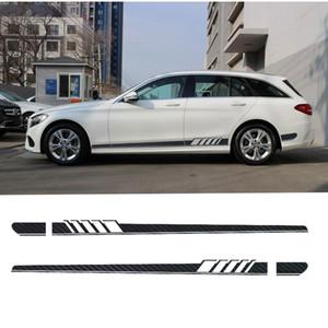 2pcs édition 1 style côté jupe autocollant de bande pour Mercedes Benz S205 Classe C W205 Immobilier C180 C200 C230 C280 C300 C63 AMG