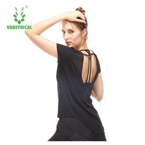 Vansydical Camisas de las mujeres de secado rápido Blusas de entrenamiento Camisa deportiva espalda abierta Yoga Camisas de manga corta Activewear para mujeres