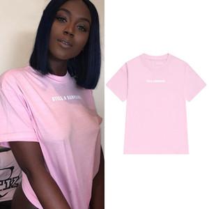 Letras de impresión mujeres camiseta de algodón ocasional camiseta divertida para Lady Girl Top