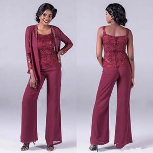 Koyu Kırmızı Dantel Şifon Anne Gelin Pant Suits Ile Ceketler Ucuz Payetli Düğün Konuk Elbise Artı Boyutu Anneler Damat Elbiseler