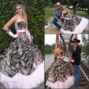 Abiti da sposa rosa e camo Design alla moda Sweetheart increspato fasce Tulle Una linea elegante romantico Camo Abiti da sposa 2018 Cowboy