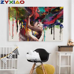 Zyxiao big size ölgemälde kunst abstrakte liebhaber mann frau wohnkultur auf leinwand moderne wandkunst kein rahmen druckplakat bild ys0055