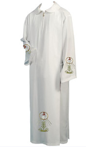 BLESSUME catholique blanc Clergé Eglise Alb Chasubles Robe solide Chasubles catholique Soutane Prêtre Cope Chasuble Robe cattolico