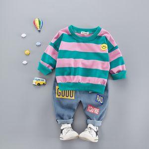 Hot Sale Cotton Autumn Casual Striped Kid Suit Children T-shirt Top + Floral Long Pants 2PCS Set