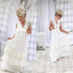 2018 Bohemian Yaz Plaj Çiçek Kız Elbise V Boyun Vintage Dantel Katlı Dantel Düğün Için Sevimli Prenses Kız Elbise Özel BA4995