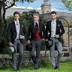 Custom made men suits black tailcoat grey vertical stripe pants floral vests peaked lapel suits for party prom wedding 3 pieces