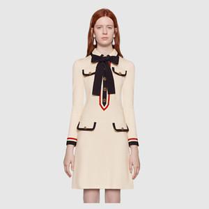 2018 белый лук отворотом шеи с короткими рукавами мини женщин платье высокого класса полосатые кнопки бренд же стиль платья DH18