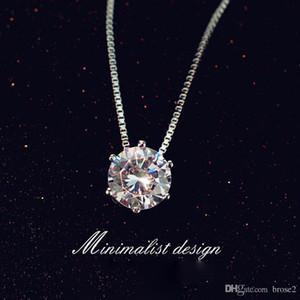 Collana con diamante singolo femminile dolce catena corta clavicola Collana con ciondolo in argento rame sei gioielli rombici clavicola corta