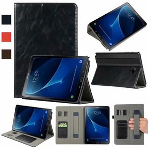 30 pcs livro capa flip pu leather case para samsung galaxy tab a 10.1 p585 com s caneta tablet com slots de cartão alça de mão