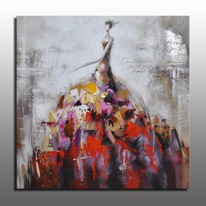 Coloré Décor moderne Photos Danse Fille En Grande Robe Figure Figure Peinture À L'huile Sur Toile Pour La Décoration Intérieure À La Main À La Main