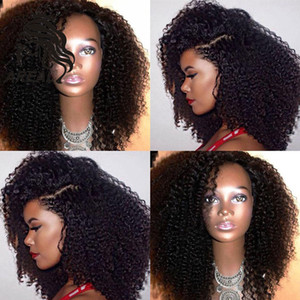 5 * 4.5 '' Silk Top en dentelle pleine perruques Glueless Kinky Curly homme mongole cheveux Lace Front perruque Vierge cheveux avec de la soie Base de cheveux de bébé