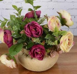 Dekorative künstliche Blumen Set Seide Rosen Topf künstliche Bonsai Fake FlowerWedding Party Hochzeit Weihnachten Halloween