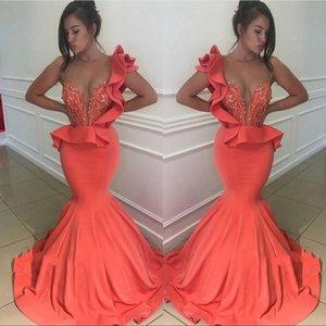 Afrika Mercan Sheer Jewel Boyun Mermaid Gelinlik Modelleri Fermuar Geri Boncuklu Balo Elbise Abiye giyim Elbiseler De Bal