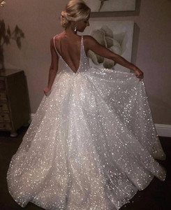 2020 Bling Sequined Elegant Evening Dresses Deep V Neck Spaghetti Straps Sleeveless Puffy Backless Prom Gowns Pageant Special Occasion Gowns