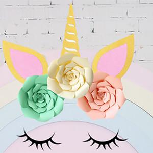 DIY Unicorn Theme Party Sets Decoración del banquete de boda Artificial Flowers Banner y brillo Ear Eyebrow Angle Kits Decoración WX9-606