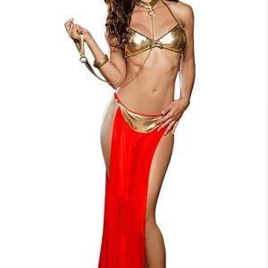 Sexy lingerie sıcak Altın rugan sutyen uzun peçe Kutup dans Lingerie set lenceria seksi erotik lingerie seksi kostümler
