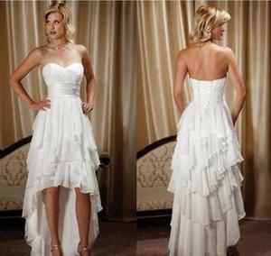 Curto Frente Longo Voltar Vestidos de Casamento Design Simples Querida Chiffon Alta Low Country Oeste cowgirl Hi-lo Vestidos de Noiva Vestido