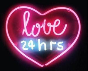 """Personalizzato New Love 24 ore rosa Real Glass Neon Sign light Birra Bar Sign Invia bisogno di foto 19x15 """""""