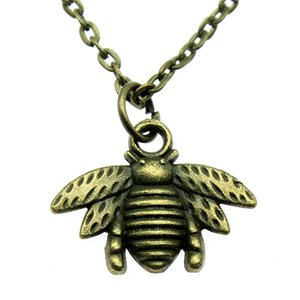 WYSIWYG 5 Pieces Metal Chain Necklaces Pendants Vintage Necklace Handmade Bee Insect 20x16mm N2-A12691