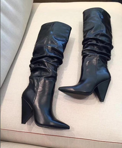2018 new women spike heel boots knee high boots pointed toe booties black leather high heel boots ladies party shoes