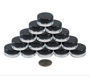 Frascos cosméticos redondos claros de alta calidad de 3G / 3ML con las tapas negras de la tapa de tornillo y pequeña botella minúscula 3g