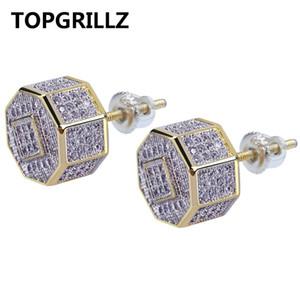 TOPGRILLZ Hip Hop Gold Farbe Iced Out Kubikzircon Geometrische Ohrstecker Männer Frauen Trend Schmuck Geschenke Mit Schraube Zurück Schnalle