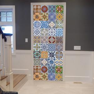 PVC 3d etiqueta engomada para la puerta Wallpaper DIY Mural artista cubierta de la puerta 77 * 200 cm cocina tatuajes de pared decoración imágenes de escritorio revestimientos de pared arte