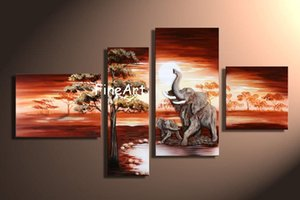 handgefertigte Ölgemälde 4 Panels Großhandel Rabatt afrikanischen Sonnenuntergang Gemälde Wand Dekor Leinwand Wohnkultur