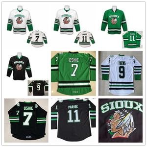 North Dakota Fighting Sioux 7 TJ Oshie 11 Zach Parise 9 Jonathan Toews Blank Green Green Black White University Stitched College Hockey Jerseys