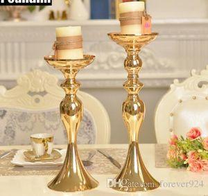 Decoraciones de la boda Metal Candle Stand Florero Florero Candlestick Gold Plate Candle Holder Road Lead Candelabro Center Pieces