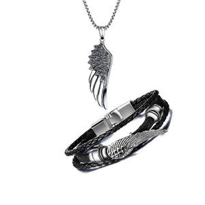 Toda la venta Collar de colgante del ala del ángel del acero inoxidable de los hombres con el abrigo de la persona que practica surf Brazalete del puño de cuero negro Sistemas de la joyería de Steampunk de moda