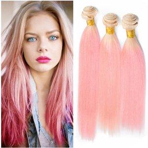 # 613 / Pink Ombre péruvienne vierge de cheveux humains tisse 3pcs blonde et rose 2Tone Ombre de cheveux humains bundles offres double soyeuse droite