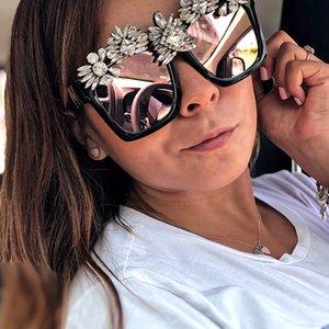 Custom Made occhiali da sole a cristallo delle donne di Bling strass Occhiali da sole quadrati oversize occhiali vintage tonalità signore Accessori